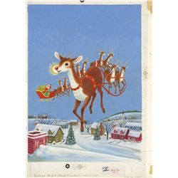 Original art  by Richard Scarry for the cover of Rudolph the Red-Nosed Reindeer, Little Golden Book