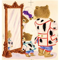Pair of original Richard Scarry illustration artwork for Pierre Bear