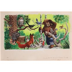 Original Mel Crawford color artwork for the Little Golden Book, Smokey & His Animal Friends
