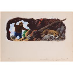 Original Mel Crawford color artwork for the Little Golden Book, Smokey and His Animal Friends