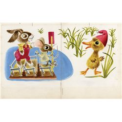Original Richard Scarry illustration artwork for Duck and His Friends