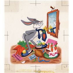 Pair of original illustration artwork for Bugs Bunny for a Little Golden Book