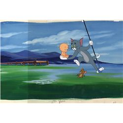 Original production cel of Tom and Jerry from Tot Watchers on original background