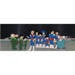 Color pan production cel & pan production background with Astroboy, Astrogirl and Professor Boynton
