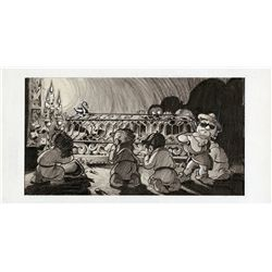 Original concept storyboard artwork featuring the first season cast of Saturday Night Live