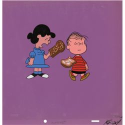 Original production cel of Lucy and Linus from first animated appearance of Peanuts