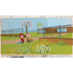 Original production cel and background from You're in Love, Charlie Brown