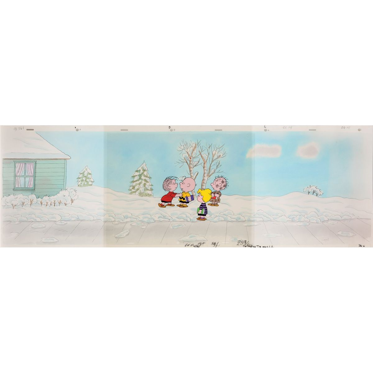 Original Peanuts production cel and background from It\'s Christmas ...