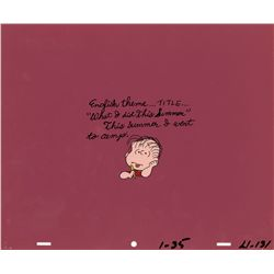 Original Peanuts production cel from It Was a Short Summer, Charlie Brown