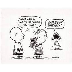 Original Charles Schulz comic artwork of Charlie Brown, Linus and Lucy from Peanuts