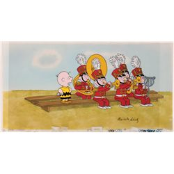 Original Peanuts production cel and background, signed by Charles Schulz