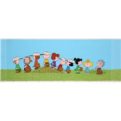 Original Peanuts baseball model cel and original pan production background