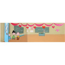 Original production Peanuts Valentine cel and original pan production background