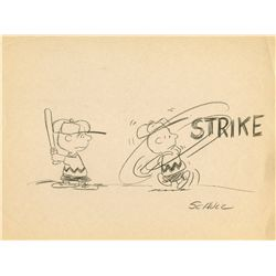 Original layout drawing of Charlie Brown signed by Charles Schulz