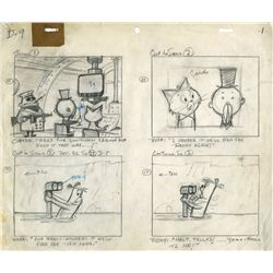 Original hand-drawn storyboards for The Ruff & Reddy Show with handwritten dialogue script