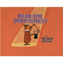 Original production cel & background - Opening title card for Yogi Bear episode, Bear for Punishment