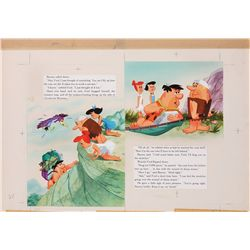 Original color illustration artwork for a Golden Book featuring The Flintstones