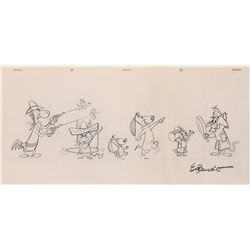 Original model drawing of Quick Draw McGraw, Augie Doggie, Doggie Daddy and others by Ed Benedict