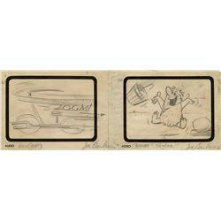 3 original storyboard panels - The Flintstones episode, The Swimming Pool, one signed by Joe Barbera