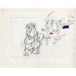 "Pair of original pencil layout drawings from The Flintstones episode, ""The Girls' Night Out"""