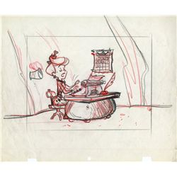 Original production layout drawing of woman from The Flintstones