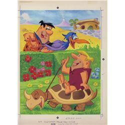 Original color artwork of Fred and Barney from The Flintstones for a tray puzzle design