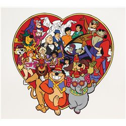 Original hand-painted presentation artwork featuring characters from Hanna-Barbera shows