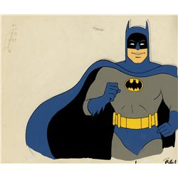 Original hand-painted production cel and drawing of Batman from Super Friends