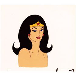 Superfriends/Wonderwoman original hand-painted production cel with its original drawing