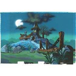 Hand-painted production stock background & overlay cel of Gargamel's house from The Smurfs