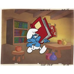Collection of 5 Hand-painted production backgrounds, overlay cels and character cels from The Smurfs
