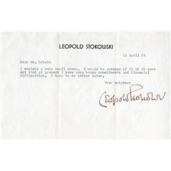 Leopold Stokowski TLS with Fantasia photograph