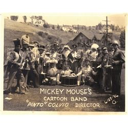 "Pair of rare original 1936 photographs of ""Pinto"" Colvig's ""Mickey Mouse's Cartoon Band"""