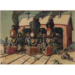 Ward Kimball original artwork of steam locomotives