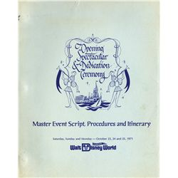 Master script and complete set of master plans from Disney World