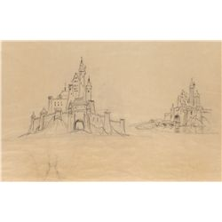 Original hand-drawn Disneyland Castle architectural drawings by Roland Hill & production blueprints