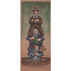 "Disneyland Haunted Mansion original featured ""stretching portrait"" painting, signed by Marc Davis"