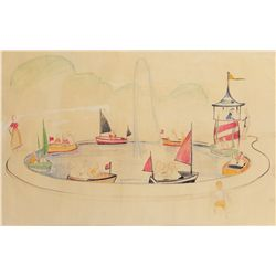 """Boat Chase"" children's boat ride preliminary design for Disneyland by Bruce Bushman"
