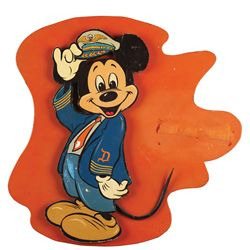 Original painted wood Mickey Mouse that hung on Walt's personal airplane