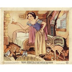 Collection of 11 UK front-of-house lobby cards for Snow White and the Seven Dwarfs and Fantasia