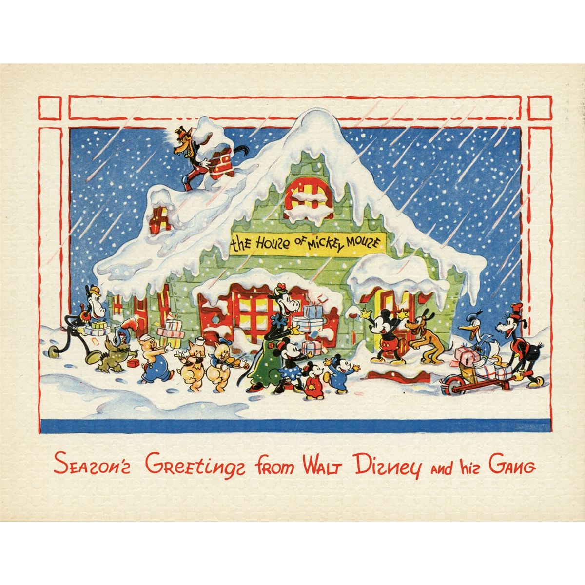 Collection of 27 Walt Disney Studios Christmas cards 1935-1983