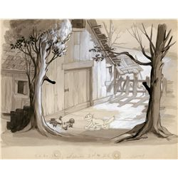 Rare early original Walt Disney Studios production background from The Cat's Out