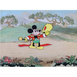 Rare original production cel of Academy Award Mickey Mouse on original hand-painted background