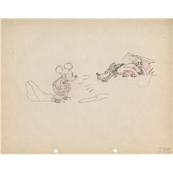 Original production drawing of Mickey and Pluto from The Mad Doctor