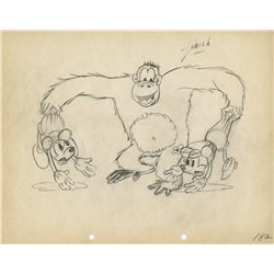 Minnie and Mickey Mouse production drawing with gorilla from The Pet Store