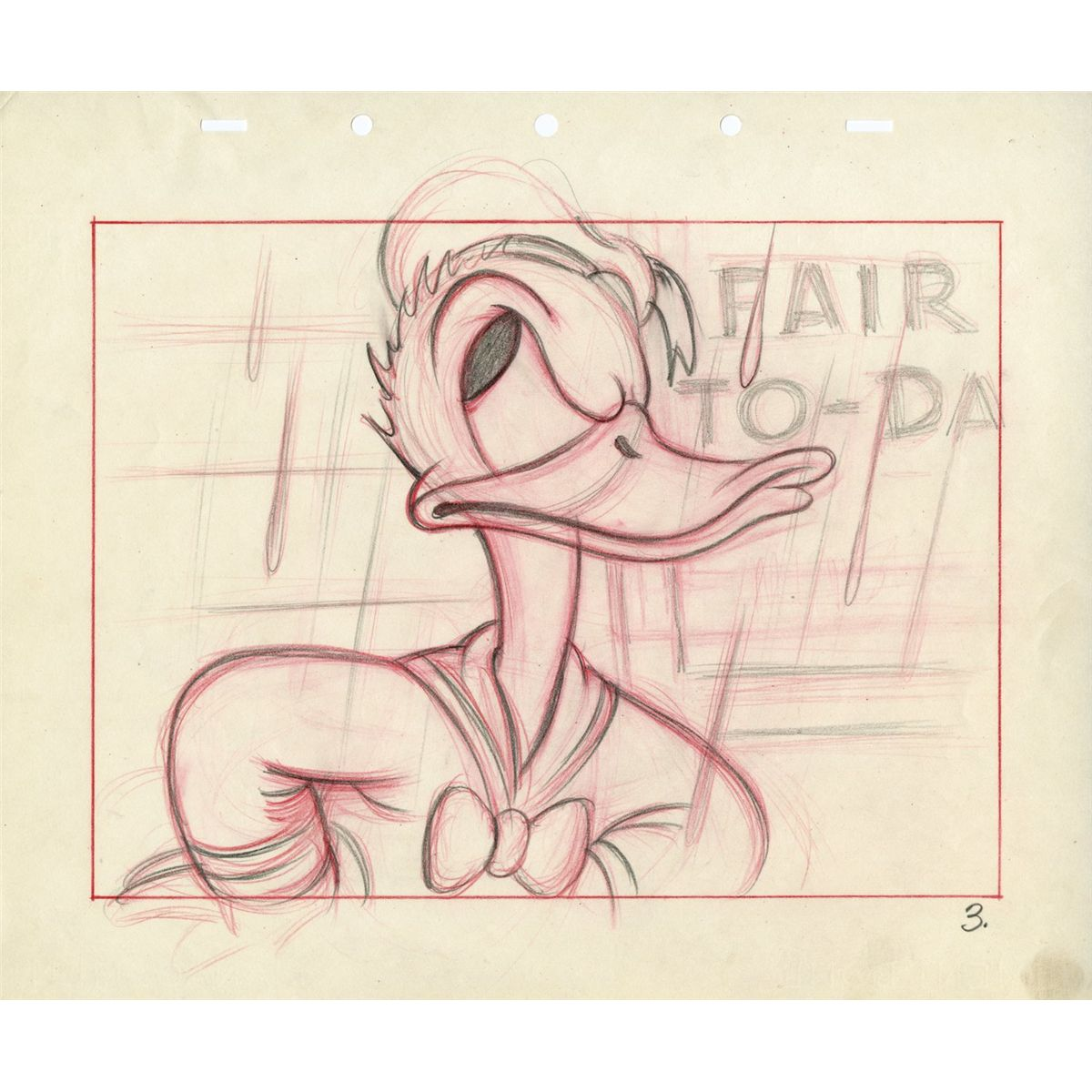Original Donald Duck Drawing Drawing of Donald Duck