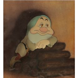 Sleepy original production cel from Snow White & the Seven Dwarfs on Courvoisier background, framed