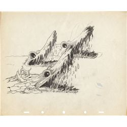 Original production model drawing of log alligators from Snow White and the Seven Dwarfs