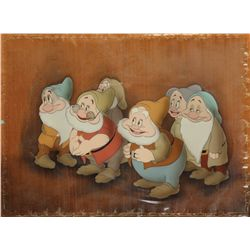 Original production cel of Dwarfs from Snow White & the Seven Dwarfs on wood Courvoisier background