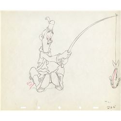 Pair of original production drawings of Laurel and Hardy from Mother Goose Goes Hollywood